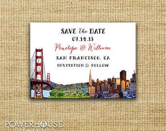 San Francisco Save the Date : Bridge & Painted Ladies