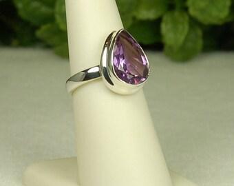 Amethyst Ring, Size 7, Rich Purple, Pear Shape Amethyst, Sterling Silver, February Birthstone, Purple Amethyst, Natural Amethyst