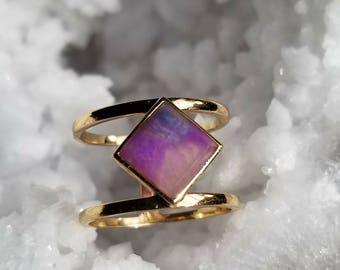 18k Gold + Square-Cut Sugilite Ring