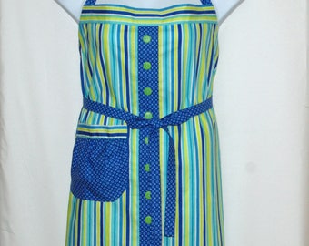 Plus Size Striped Ladies Apron, Full Bib Long, Extra Large, Custom Gift, Personalize With Name, No Shipping Fee, Ready To Ship, AGFT 1195