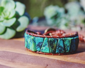Turquoise Triangle Leather Wrap Bracelet