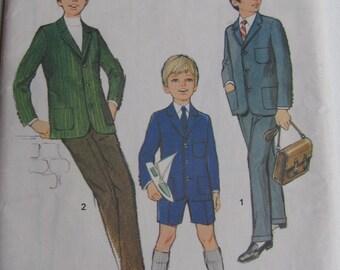 1970's Sewing Pattern - Simplicity 9006 Boys jacket pants Size12 in German Uncut, Factory Folded