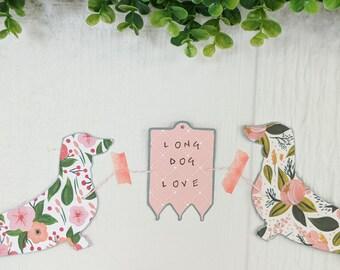 Dachshund Long Dog Love Handmade Paper Garland
