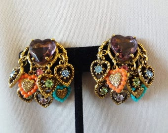 Vintage Designer ART Victorian  Revival Jeweled HEART Clip Earrings