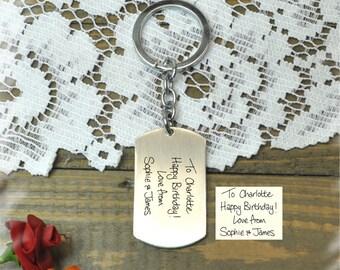 Hand Writing personalized  Stainless steel key chain , Bridesmaid Gift , Custom Wedding Gift, Name Initials key chain, Handmade key chain