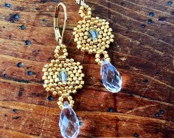 Beaded gold Swarovski crystal earrings, Swarovski earrings, gold statement earrings, gold Victorian earrings, gold w clear Swarovski