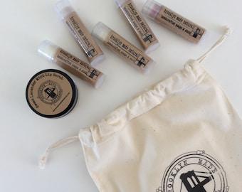 Coffret April - Baume Baume ensemble - baumes à lèvres naturel - lèvres bio gommage - cadeau pour une fille - Baume soin Set-