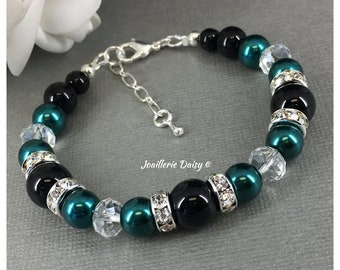 Teal and Black Bracelet Bridesmaid Gift Bridal Party Jewelry Set Pearl Jewelry Teal Wedding Maid of Honor Birthday Wedding Christmas