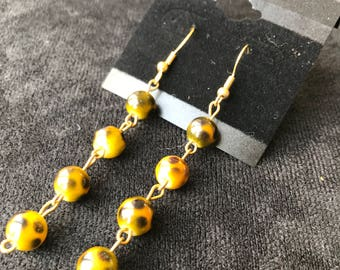 Yellow Spotted Sphere (Leopard Print) Earrings