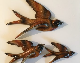 Set of Three Retro Flying Swallows Wall Art Plaques