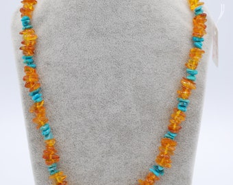 Amber 8mm irregular shape with Turquoise combination 18 inches