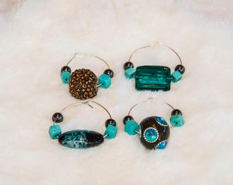 Cool Blue  Wine Charms