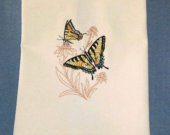 Tiger Swallowtail On Delicate Flowers Embroidered Kitchen Towel
