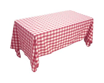 lovemyfabric Gingham/Checkered Cotton Blend Italian Restaurant Style Tablecloth/Overlay for Picnic Party and Dinner