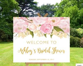 Bridal Shower Decorations Pink And Gold, Bridal Shower Signs Gold, Bridal Shower Banner, Floral Bridal Shower, Entrance Sign, Welcome Sign