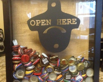 BEER CAP Shadow Box 11x14 or 12x12---Opening at the TOP of the Box!