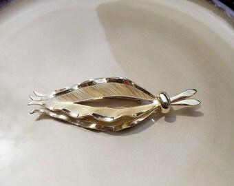 Large Vintage gold leaf brooch pin