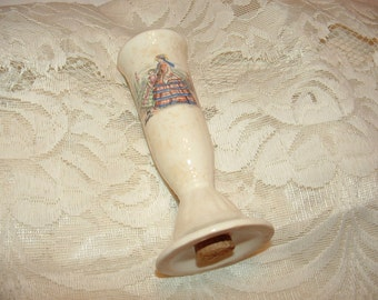 Victorian Mother and Daughter porcelain Salt Shaker Colonial Ladies with cork stopper