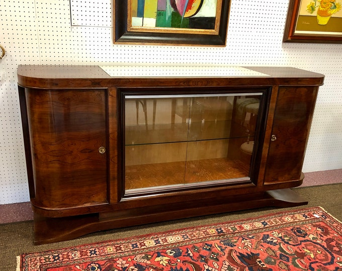 French 1930s Art Deco Rosewood Sideboard Bar with Glass Sliding Door Display Cabinet