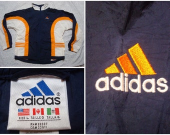 Vintage Retro Men's 90's Adidas Jacket Blue Orange White Neon Full Zip Windbreaker Nylon Jacket Large