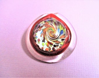 Art Glass Pendant Metallic Red Silver Round Glass Pendant Swirl Paperweight Glass Abstract Vintage Jewelry Making Supply Mother's Day Gift