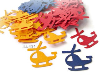 Primary Colors Helicopter Cut outs, Die cut, Confetti, Embellishments-Set of 40pcs-80pcs Primary colors or CHOOSE YOUR COLORS