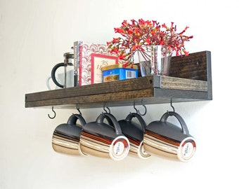 "24"" Coffee Mug Rack Wall Mounted Coffee Cup Display | Coffee Cup Holder Coffee Bar Station Organizer"