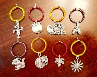 Thanksgiving/Autumn Wine Charms