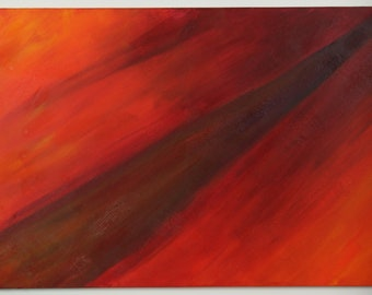 24 x 36 inch abstract acrylic painting, red, orange, black