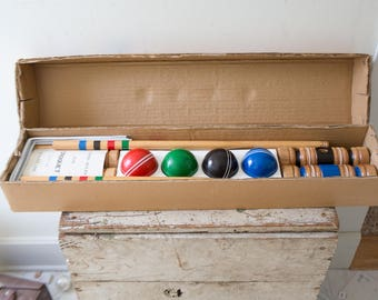 Vintage Full Croquet Set with Mallets, and Balls Vintage Lawn Game Red Croquet