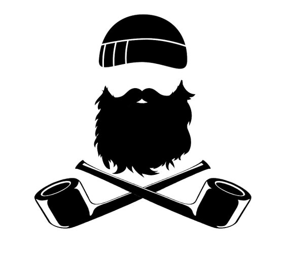 8in beard and crossed pipes sticker gloss vinyl car sticker