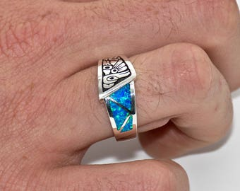 Native Raven Ring with Inlayed Opal #SSLIA016 #SSGIA015
