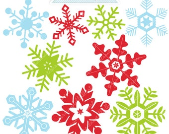 Christmas Snowflakes Cute Digital Clipart - Commercial Use OK - Christmas Graphics - Christmas Clipart - Snow, Snowflake Clipart