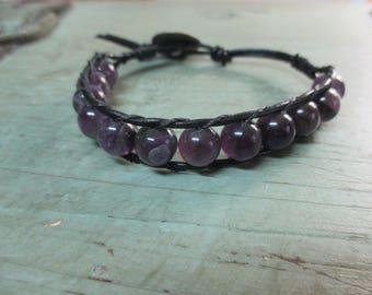 Amethyst single wrap bracelet with a copper button closure