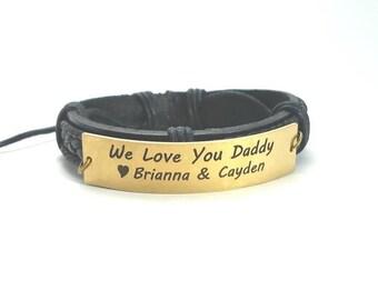 Personalized Bracelets for Men Women, Custom Leather Bracelet, Handmade Bracelet, Gift for Him, Copper, Brass, Stainless Steel