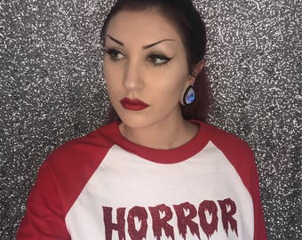 Red HORROR Baseball Tee