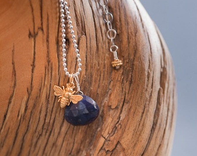 Sapphire Necklace with Bee Charm on Bead Chain--Personalize with an Initial Charm
