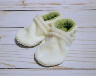 Cream and Sage : Soft Velour All Fabric Baby Shoes 0-3M Newborn Booties