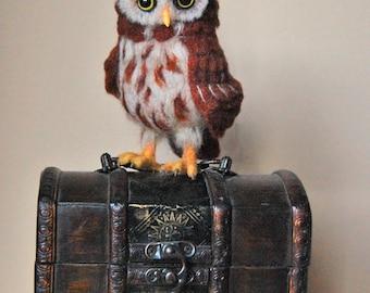 Owl Soft Sculpture. Needle Felted Owl. Cute Little Felted Owl. Needle Felted Animal. Felt Owl. Owl miniature.
