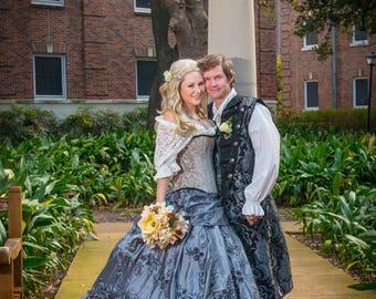 Bridal Dress, English Bride, Something Blue Costume, Cinderalle Inspired Wedding Dress, Renaissance, Victorian, Corset, Halloween, Weddings