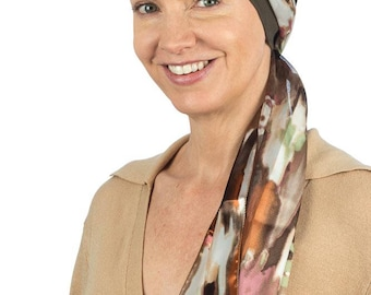 Fraya - Jersey Cotton Hat with Chiffon Scarf for Cancer, Chemo and Hair Loss