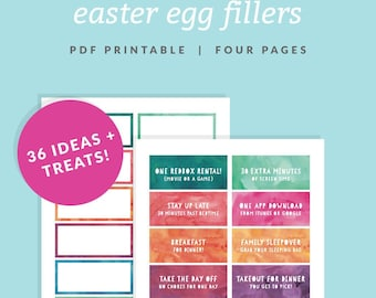 Easter Egg Filler Coupons - Printable Easter Basket Fillers- Instant Download - Watercolor Dyed Easter Egg Look - Easter Candy Alternative