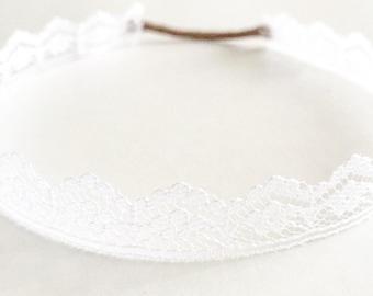 White Lace wrap around baby headband