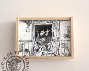 Shadow Box Peter Pan - 3D Illustration Paper 7x5,1 inch - peter pan wendy michael john tinkerbell flying over london