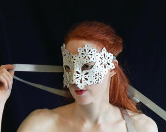 Snowflake Mask ~ Hand cut Leather Mask with Swarovski Crystal ~ Silver Leather Winter Masquerade Mask