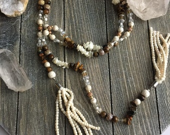 Mutiway Natural Wrap Necklace | Wrap Tassel Necklace | Gemstone Choker Necklace