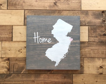 Pick Colors, New Jersey Wood Sign, New Jersey Sign, New Jersey decor, New Jersey home sign, State Guest Book, New Jersey Plaque, Moving gift