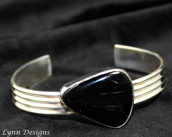 Black Onyx Cuff Bracelet, Sterling Onyx Cuff, Black Stone Cuff, Modern Cuff