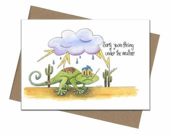 Southwest Lizard Under the Weather | Get Well Card | SKU C1202