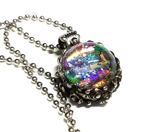 Holographic Trippy Glass Pendant Psychedelic Color Shift Dichroic Heady Glass Artisan Jewelry Music Festival Rave Outfit EDM Accessories